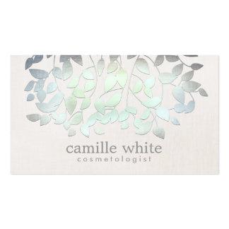 Mirada de lino de las hojas del verde azul del tarjetas de visita