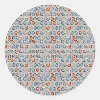 Mirada de lino de los remolinos del océano pegatina redonda