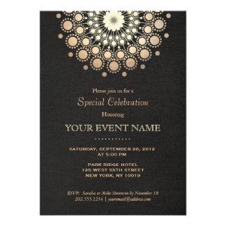 Mirada de lino del oro del círculo del negro elega invitación personalizada