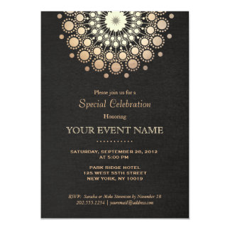 Mirada de lino del oro del círculo del negro invitación 12,7 x 17,8 cm