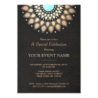 """Mirada de lino del oro del negro adornado elegante invitación 5"""" x 7"""""""
