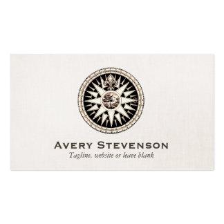 Mirada de lino profesional del compás del vintage tarjeta personal