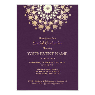 """Mirada de lino púrpura del oro del adorno elegante invitación 5"""" x 7"""""""