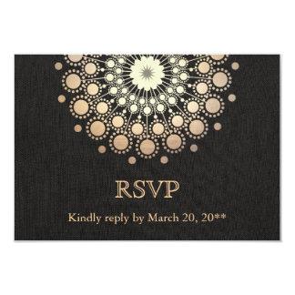 """Mirada de lino RSVP del oro del círculo del negro Invitación 3.5"""" X 5"""""""