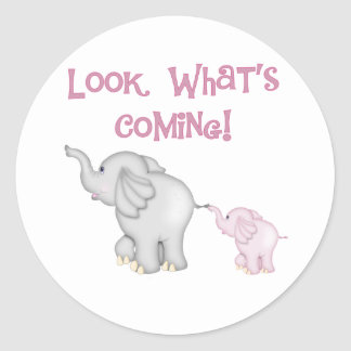 Mirada de los elefantes rosados qué está viniendo pegatina redonda