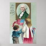 Mirada de los niños en el retrato de Washington Poster