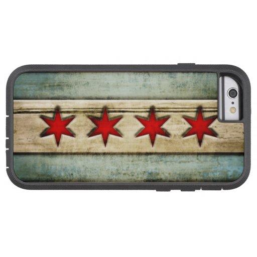 Mirada de madera apenada bandera de Chicago del Funda De iPhone 6 Tough Xtreme