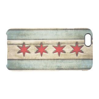 Mirada de madera apenada bandera de Chicago del Funda Clear Para iPhone 6/6S