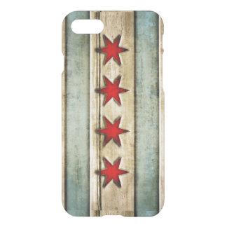 Mirada de madera apenada bandera de Chicago del Funda Para iPhone 7