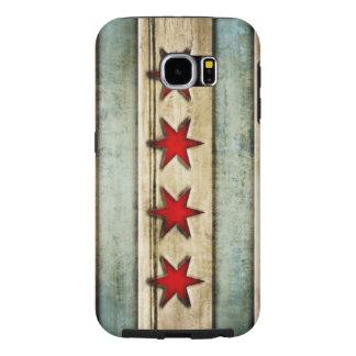 Mirada de madera apenada bandera de Chicago del Fundas Samsung Galaxy S6