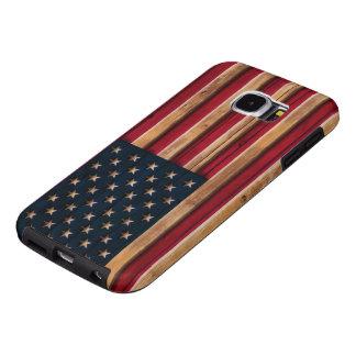 Mirada de madera apenada de la bandera americana fundas samsung galaxy s6
