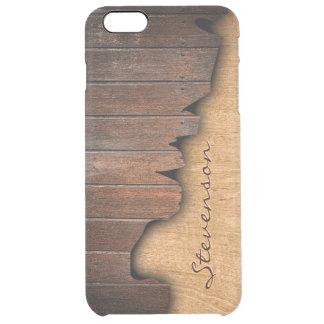 Mirada de madera astillada madera rústica funda clear para iPhone 6 plus