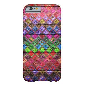 Mirada de madera colorida del modelo de mosaico funda de iPhone 6 barely there