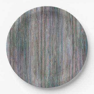 Mirada de madera de bambú curtida del grano plato de papel de 9 pulgadas