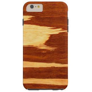 Mirada de madera de bambú del grano de la raya del funda de iPhone 6 plus tough