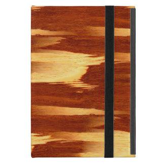 Mirada de madera de bambú del grano de la raya del iPad mini fundas
