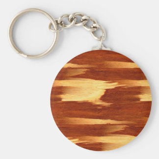 Mirada de madera de bambú del grano de la raya del llavero redondo tipo pin