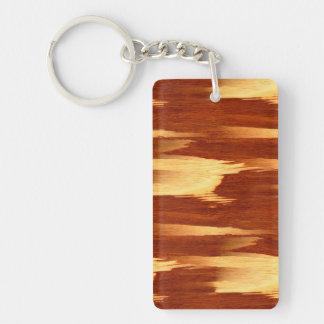 Mirada de madera de bambú del grano de la raya del llavero rectangular acrílico a doble cara