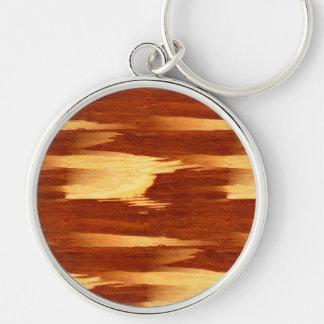 Mirada de madera de bambú del grano de la raya del llavero redondo plateado