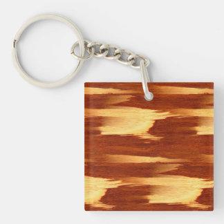 Mirada de madera de bambú del grano de la raya del llavero cuadrado acrílico a doble cara