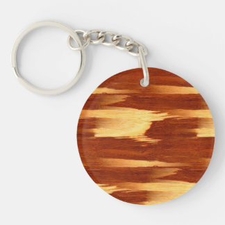 Mirada de madera de bambú del grano de la raya del llavero redondo acrílico a doble cara