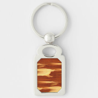 Mirada de madera de bambú del grano de la raya del llavero plateado rectangular