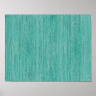 Mirada de madera de bambú del grano del Aquamarine Póster