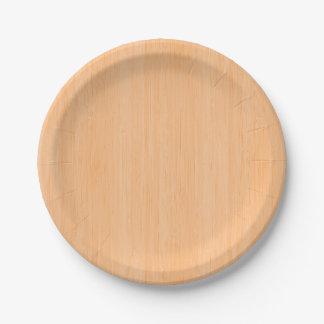 Mirada de madera de bambú del grano del melocotón platos de papel