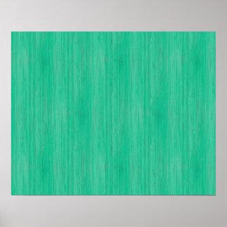 Mirada de madera de bambú del grano del verde de póster