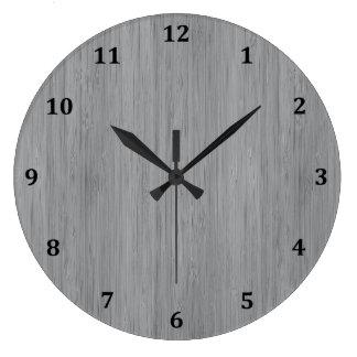 Mirada de madera de bambú del gris de ceniza reloj redondo grande