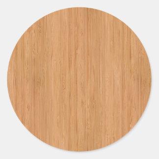 Mirada de madera de bambú natural del grano pegatina redonda