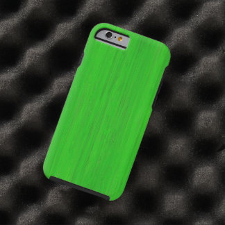 Mirada de madera de bambú verde clara del grano funda para iPhone 6 tough