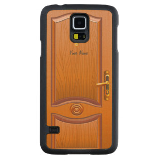 Mirada de madera de la puerta funda de galaxy s5 slim arce