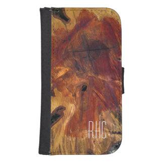 Mirada de madera de la rebanada masculina rústica billetera para teléfono