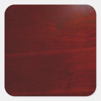 Mirada de madera del cherrie oscuro pegatina cuadrada