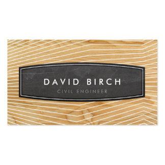 Mirada de madera del grano de la insignia masculin plantilla de tarjeta personal