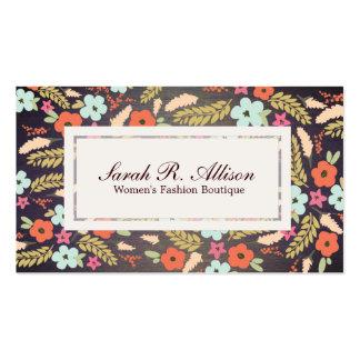 Mirada de madera del grano de la moda de las flore tarjetas personales