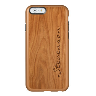 Mirada de madera del grano de la nuez - el funda para iPhone 6 plus incipio feather shine