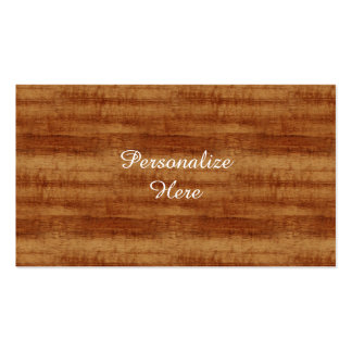 Mirada de madera del grano del acacia rizado de tarjetas de visita