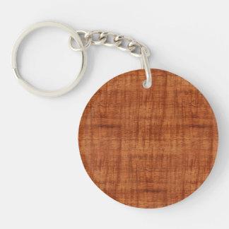 Mirada de madera del grano del acacia rizado llavero redondo acrílico a doble cara