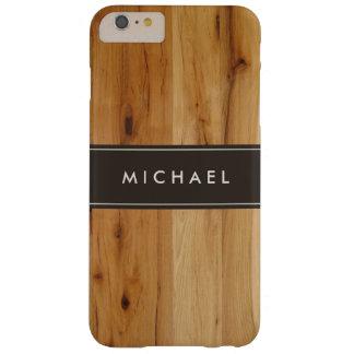 Mirada de madera elegante moderna del grano funda para iPhone 6 plus barely there