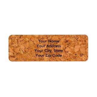 Mirada de madera maciza del grano del corcho etiquetas de remite