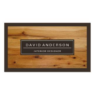 Mirada de madera moderna profesional del grano tarjetas de visita