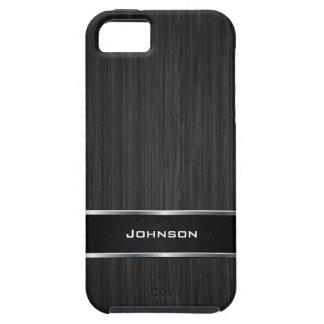 Mirada de madera negra con la etiqueta el | del cu iPhone 5 coberturas
