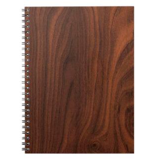 Mirada de madera oscura de Brown Spiral Notebooks
