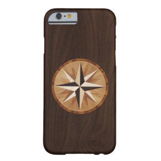 Mirada de madera oscura de la marquetería de la funda para iPhone 6 barely there