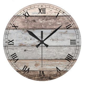 Mirada de madera reclamada de moda reloj redondo grande