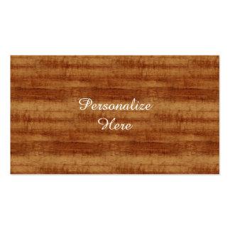 Mirada de madera rizada del grano de Koa Tarjeta Personal