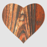 Mirada de madera rugosa calcomanía corazón personalizadas