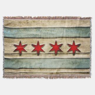 Mirada de madera tallada bandera apenada vintage manta